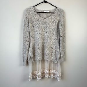 Altar'd State Layered Sweater Tunic with Lace S/M